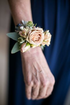Nude and Navy Wrist Corsage - Royal Bee Florals and Events Bee Florals and Events Wrist Corsage Wedding, Bridesmaid Corsage, Flower Box Gift, Bee On Flower, Floral Fascinators, Floral Headbands, Wedding Wall, July Wedding, Wedding Ceremony