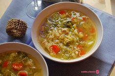 Sopa de pollo con verduras y pasta. | Cuchillito y Tenedor