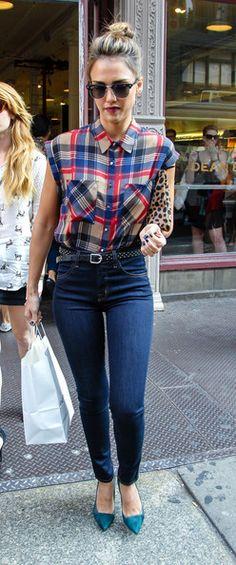 Jessica Alba - Jessica Alba Rocks Plaid in NYC