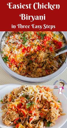 Have you even wondered how to make Chicken Biryani? This simple, easy and effortless recipes will probably make the easiest Indian Chicken Biryani recipe using boneless chicken and easy to find spices that you can relate to. This post simplifies the proce Chicken Byriani Recipe, Easy Chicken Biryani Recipe, Biryani Chicken, Chicken Biryani Recipe Pakistani, Indian Chicken Fried Rice Recipe, Chicken Curry With Rice, Recipes Using Cooked Chicken, Indian Food Recipes, Asian Recipes