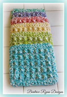 Ravelry: Thick & Quick Bumpy Scrubby pattern by Beatrice   Think I will try this with one strand and a strand of tulle to make it a bit scratchy .Ryan Designs