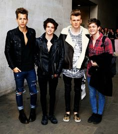 Pin for Later: This Week's Can't-Miss Celebrity Photos The Vamps posed for a picture outside the BBC studios in London. Tristan The Vamps, Bradley The Vamps, Bradley Simpson, Evan And Connor, Will Simpson, British Boys, Celebrity Pictures, Celebrity Guys, Picture Poses