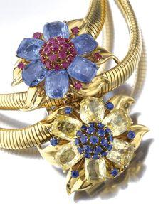 Van Cleef & Arpels Passe Partout Necklace / Bracelet - detail - c. 1940 - Sapphire and ruby - Sotheby's - @~ Mlle