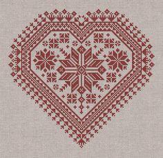 The Nordic Heart  Romantic CrossStitch Pattern 4 por modernfolk