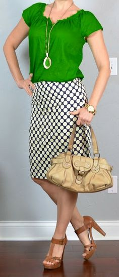 from outfit posts: kelly green blouse, polka-dot pencil skirt