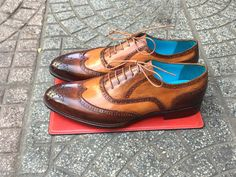 Dominique Saint Paul. Full brogue shoes. Hand coloured with patina.