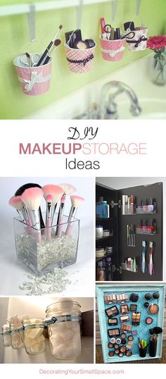 Terrific way to keep paint brushes upright and apart from each other!  DIY Makeup Storage Ideas • Great Ideas & Tutorials!