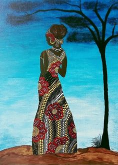 African woman on canvas Stone Art Painting, Dot Art Painting, Mandala Painting, African Artwork, African Art Paintings, Mandala Canvas, Mandala Art, Illustration Art Drawing, Art Drawings