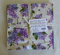 """Fresh Lilacs Maywood Studio-10"""" Squares Layer Cake Cotton Floral Quilt Sew LC100"""