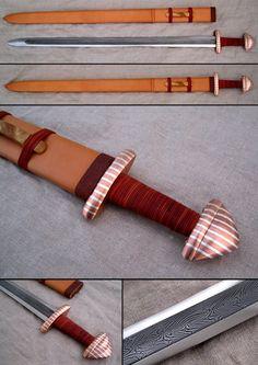 Type h viking sword. This kind of swords were common in finland, and elsewhere in northern europe, between Blade is pattern welded, i used Viikinkimiekka II Sword Sheath, Sword Belt, Viking Helmet, Viking Age, Fantasy Sword, Fantasy Weapons, Swords And Daggers, Knives And Swords, Heroic Age