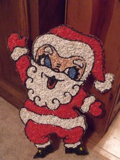 Vintage Melted Popcorn Plastic Christmas Santa Wall Window Decor Holiday