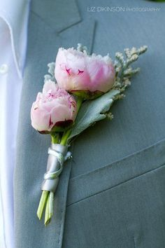Bridesmaid boutonniere: love the small peonies with lambs's ear and the other texture, would be perfect with a chocolate cosmos accent