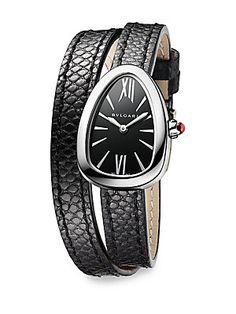74b1067f2df8 BVLGARI - Serpenti Stainless Steel, Diamond & Black Karung Strap Watch