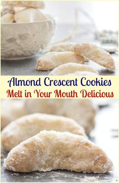 Crescent Cookies, almond, pecan or walnut these melt in your mouth Christmas Cookie Recipe are a must make.Almond Crescent Cookies, almond, pecan or walnut these melt in your mouth Christmas Cookie Recipe are a must make. Italian Christmas Cookies, Italian Cookies, Italian Wedding Cookies, Italian Cookie Recipes, Mexican Wedding Cookies, French Recipes, Christmas Cookies Simple, Christmas Baking Ideas Cookies, Wedding Cookie Recipes