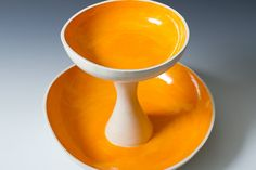 Orange and white 2 Tiered Fruit, Serving or Display Bowl Sculpture - Ceramic Pottery Bowls Great for Events and Wedding - ready to ship