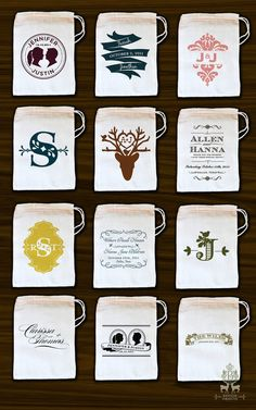 $3.50 Personalized muslin favor bags by Benign Objects. - I would love to have some filled with seed bombs as favors for the guests