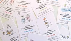 cute illustrations on each individual business card