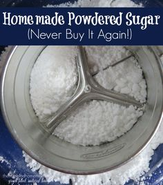 Best Baking Hacks - Homemade Powdered Sugar - DIY Cooking Tips and Tricks for Baking Recipes - Quick Ways to Bake Cake, Cupcakes, Desserts and Cookies - Kitchen Lifehacks for Bakers http://diyjoy.com/baking-hacks Powdered Sugar Substitute, Make Powdered Sugar, Coconut Sugar, Granulated Sugar, Confectioners Sugar, Real Food Recipes, Food Tips, Food Hacks, Diy Food