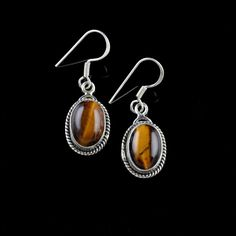 925 Sterling Silver Natural Tigers Eye Gemstone Handmade Earrings Jewelry #Handmade #DropDangle
