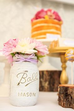Painted mason jars at a Tangled Birthday Party Ideas!  See more party ideas at CatchMyParty.com!