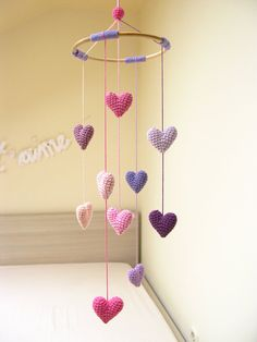 Heart Baby Mobile, Nursery Mobile, Crib Heart Mobile, Baby Shower Gift for Girls… – Baby Shower Ideas for Girls – Grandcrafter – DIY Christmas Ideas ♥ Homes Decoration Ideas Mobiles En Crochet, Crochet Mobile, Crochet Toys, Crochet Gifts, Baby Mobiles Diy, Kids Patterns, Crochet Patterns, Baby Mädchen Mobile, Mobile Kids