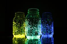 Fireflies In A Jar.. cut a glow stick in half and pour the contents into a mason jar full of water. Add some sparkly glitter, shake it up, and you have a jar o' fireflies, without the toil of catching any winged critters.