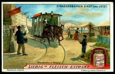 """Tramways Then & Now"" German issue, 1914 Horse Tram in Naples"