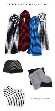 Nautica Warm Weather Essentials. A stripe for everyone! Pair our seaside style, classic striped wool scarf in any color with a solid peacoat to ward off the winter chills. Add in a beanie made from our light blend of cotton and linen in solid or classic stripe, creating the perfect outfit for a stroll in the park or to all of your holiday parties!