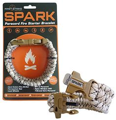 SPARK (TM) Fire Starter Outdoor Survival Paracord Bracelet Tan Camo with Khaki Whistle Side Release Buckle Kit with Scraper - Magnesium Fire Steel