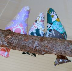 3 Magnetic Birds on a Branch Swing  3 fabric by ColoringTheirWorld