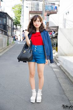 Harajuku Girl in High Waist Denim & Platform Sandals with Socks (Tokyo Fashion, 2015)