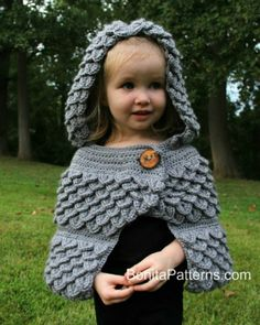 CROCHET PATTERN: Crocodile Stitch Hooded Cape (baby & kids) - Permission to Sell Finished Product