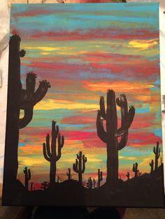 Using more intense colors Cute Canvas Paintings, Diy Canvas Art, Painting Canvas, Rock Painting, Silhouette Painting, Unique Drawings, Desert Art, Southwest Art, Cactus Art