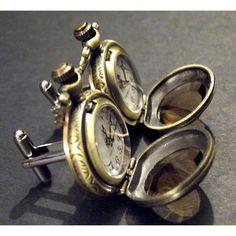 Golden Brass and Amber Glass Pocket Watch Cufflinks by tempusfugit, $49.99