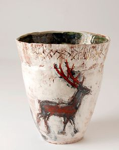 Ceramics by Jacqueline Leighton Boyce at Studiopottery.co.uk - 2009. Hinds, Birds and Stag