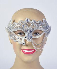 Silver/White Decorative 3/4 Glasses Style £11.95