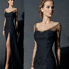 Cheap lace evening gown, Buy Quality lace evening dresses directly from China evening dress black Suppliers: Sexy Side Slit Long Sleeves Lace Evening Dress Black Women Chiffon Formal Lace Evening Gowns China robe de soiree abendkleider Mermaid Evening Gown, Lace Evening Gowns, Formal Evening Dresses, Formal Gowns, Prom Dresses Long With Sleeves, Black Wedding Dresses, Long Black Evening Dress, Dress Black, Applique Dress