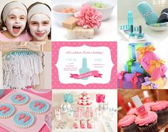 spa party - LOVE the cupcakes (so simple and adorable!) and luv the toiletry bag favors!