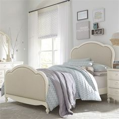 The luxurious Wendy Bellissimo by LC Kids Victoria Upholstered Panel Bed features a woven tea-stained fabric headboard and footboard trimmed in decorative. Large Furniture, Classic Furniture, Bed Furniture, Kitchen Furniture, Furniture Vintage, Furniture Online, Quality Furniture, Furniture Stores, Girls Bedroom Furniture