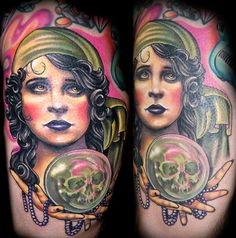fortune teller with crystal ball tattoo   Looking for unique Tattoos? Color Vintage Fortune Teller Tattoo