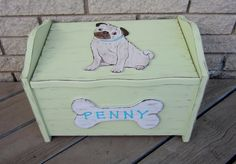 Pug Pet Portrait Toy Box   Hand Painted Solid by BirchTurtleDove, $125.00