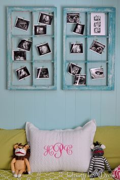 Paint old window frames, remove the glass, attach chicken wire to the back, and then you can easily clip pictures on the front...perfect for all your ultrasound pictures!