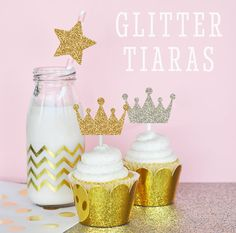 Gold Crown Stickers Glitter Tiara Stickers Gold by ModParty