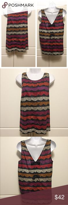 """Marc Jacobs Bow Back Tank Mulitcolored tank with V back. Bows on back at mid seam. Colors include navy, purple, and fuchsia. Measurements: bust 18.5"""", length 24.5"""". Excellent condition! 100% cotton. Marc by Marc Jacobs Tops"""