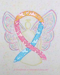 Congenital Diaphragmatic Hernia #CDH Yellow, Pink, and Blue Clouds  Awareness Ribbon Angel Painting Art