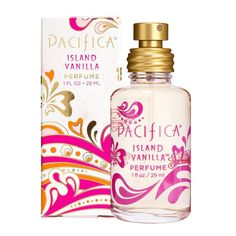 Island Vanilla Spray Perfume made by Pacifica is made with natural oils, essential oils, water, and Perfume Versace, Perfume Zara, Essential Oil Perfume, Perfume Oils, Essential Oils, Perfume Scents, Fragrances, Perfume Bottles, Skin Care
