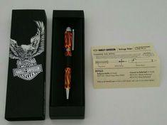 Harley Davidson Ballpoint Pen Vintage Rider w/ Flames by Retro 1951, Inc. IN BOX Ballpoint Pen, Harley Davidson, Patches, Gloves, Skull, Retro, Box, Shirt, Leather