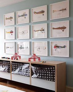 I really like this idea...perhaps buy cheap frames and put their drawings and paintings in them instead of the airplanes, although that looks cool too!  40 inspirational ideas for boy rooms / by jenny komenda