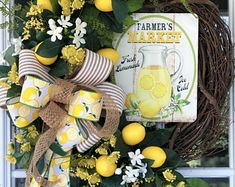 Lemon Wreath, Kitchen Lemon Wreath, Farmers Market Lemon Wreath, Farmhouse Lemon Wreath, Front Door Lemon Wreath, Lemon Decor - Edit Listing - Etsy Elegant Fall Wreaths, Autumn Wreaths For Front Door, Country Wreaths, Wreath Fall, Summer Wreath, Grapevine Wreath, Lemon Wreath, Shades Of Burgundy, Pumpkin Centerpieces