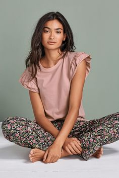 Buy Pink Ruffle Ditsy Floral Pyjamas from the Next UK online shop Cute Sleepwear, Cotton Sleepwear, Sleepwear Women, Cute Night Outfits, Cute Comfy Outfits, Girls Night Dress, Night Dress For Women, Pijamas Women, Pajama Outfits